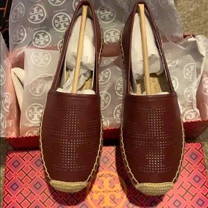 Tory Burch espadrilles leather red agate 7.5